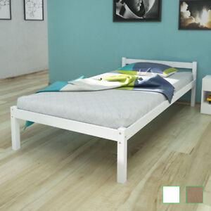 details sur lit en bois de pin massif blanc naturel lit simple lit 1 personne lit 1 place