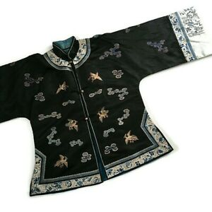 Antique Qing Chinese Silk Forbidden Knot Stitch Embroidered Robe Figural Birds