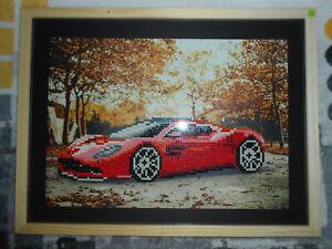 details sur tableau 5d voiture de sport rouge sous cadre 40 x 30 cm neuf