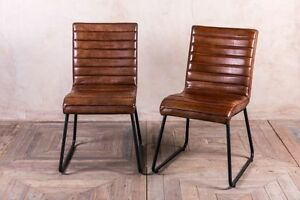 leather kitchen chairs seat warmer for office chair vintage inspired tan dining ebay image is loading