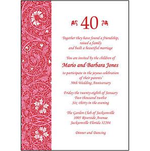 25 Personalized 40th Wedding Anniversary Party Invitations  AP013  eBay