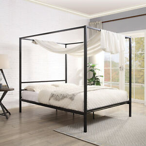 details about black four poster bed frame canopy bed single small double double king size