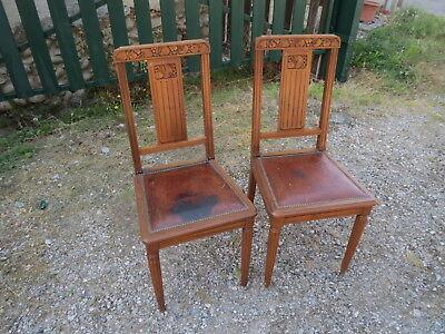 chaise ancienne cuir bois laiton art deco pour deco shabby ancien meuble france ebay