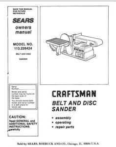Craftsman 113.226424 Belt & Disc Sander Owners Instruction