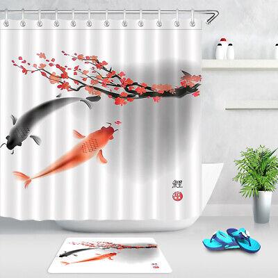 japanese cherry blossom koi carp shower curtain set hooks bathroom decor 72 ebay