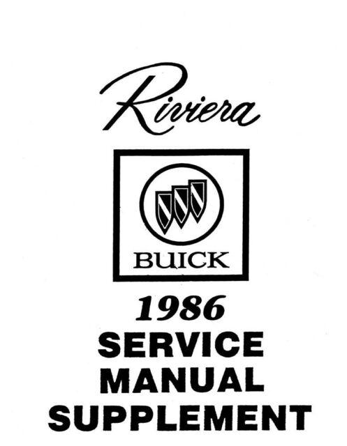 1986 Buick Riviera Shop Service Repair Manual Book Engine