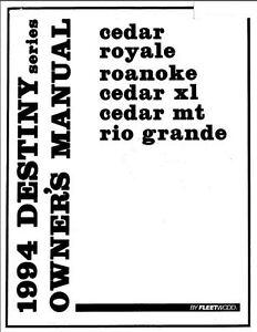 COLEMAN Popup Trailer Owners Manual-1994 Destiny Rio