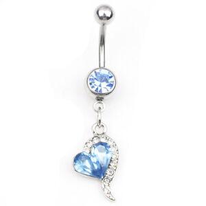 1pc Rhinestone Crystal Heart Barbells Navel Belly Bar Button Ring Body Pier M3I6