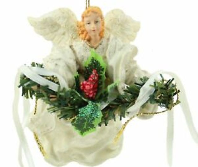 Image Is Loading White Ceramic Angel Holly Christmas Ornament Holiday Decoration
