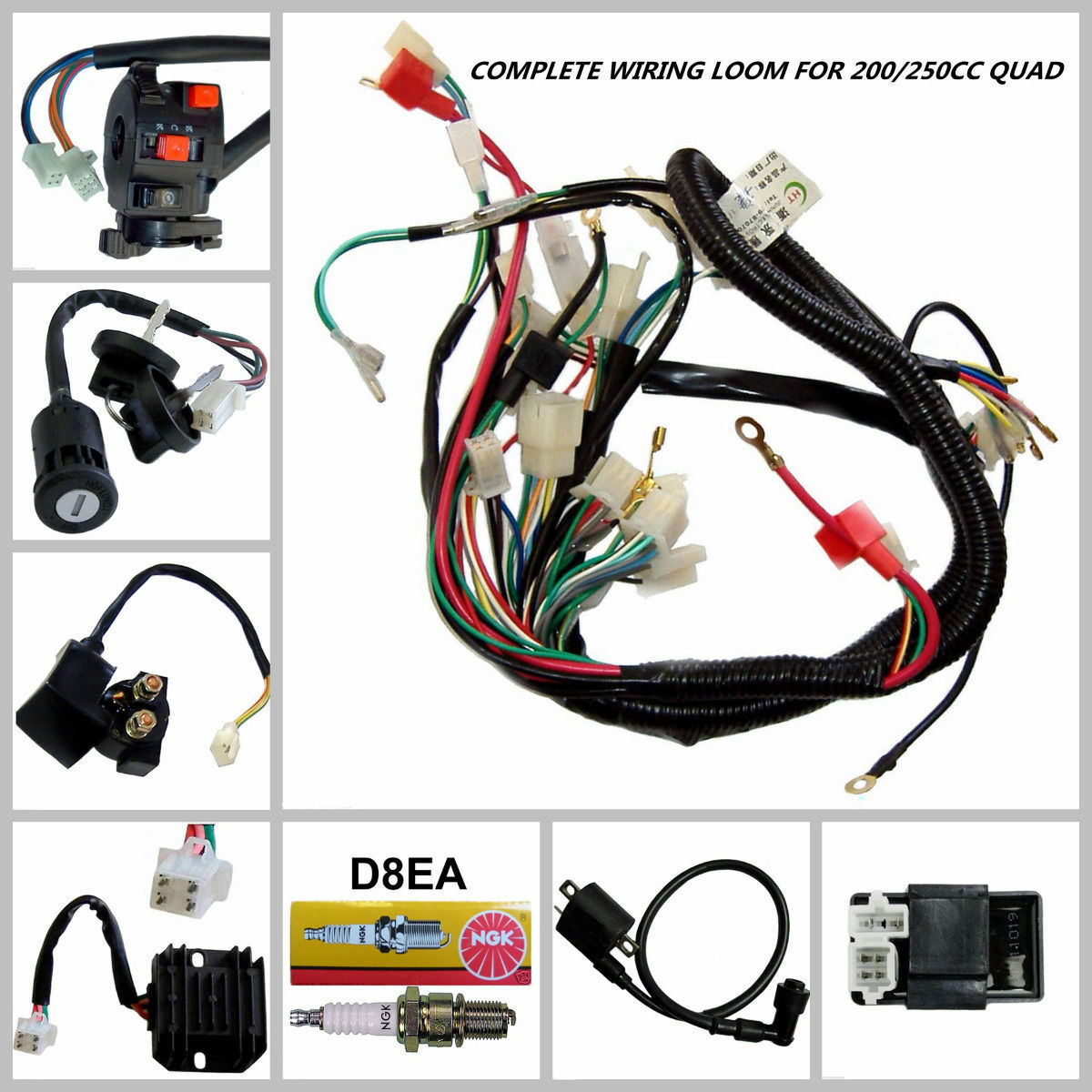 hight resolution of full motorcycle electrics wiring harness loom solenoid coil 250cc atv quad bike for sale online ebay