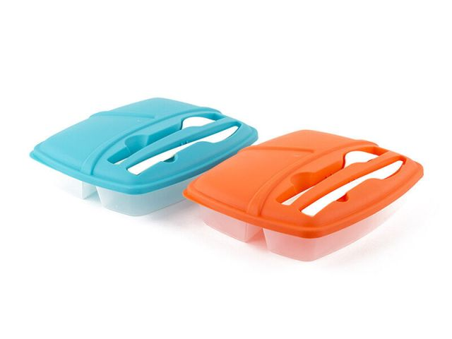 Pack of 2 Plastic Bento Lunch Box Set with Utensils - Food Storage Containers 2