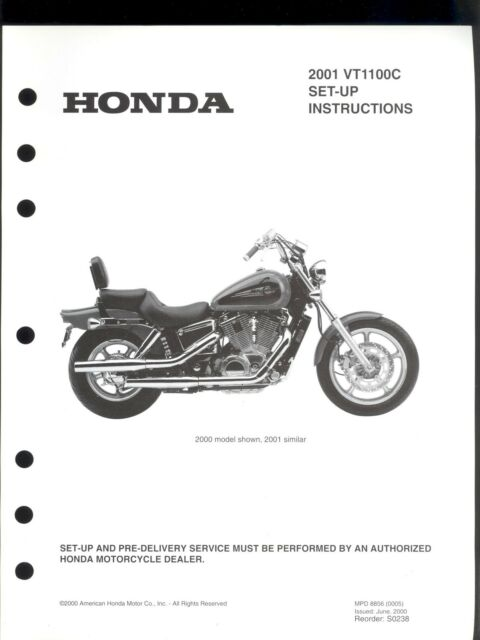 2001 HONDA VT1100C MOTORCYCLE SET UP & PRE-DELIVERY