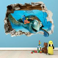 FINDING NEMO WALL STICKER - 3D SMASHED BEDROOM BOYS GIRLS ...