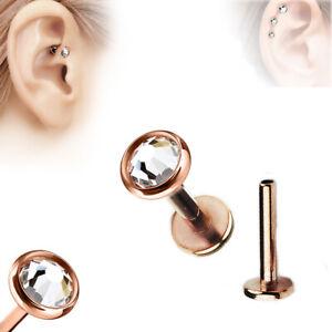 Rosegold Flacher Lippen Ohr Helix Tragus Stecker Kristall Platte Labret Piercing