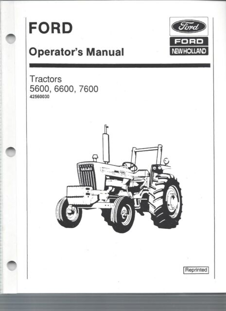FORD 5600, 6600, & 7600 Tractor Operators Manual, 1975 to