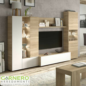Se sei alla ricerca di pareti soggiorno, madie moderne o librerie,. Parete Attrezzata Gary Legno Bianco Lucido Mobile Soggiorno Tv Base Televisione Ebay