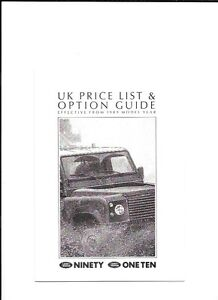 LAND ROVER 90/110 PRICE LIST SALES BROCHURE FROM 1989