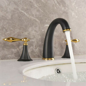 details about black gold brass widespread bathroom sink faucet 3 holes 2 handles mixer tap