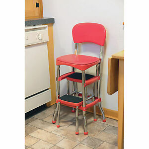 red kitchen stools Cosco Vintage Red Kitchen Stool with Folding Step | eBay