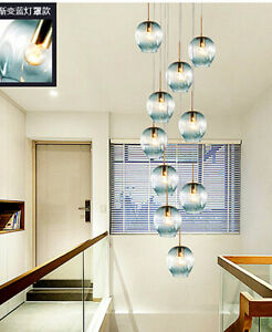 details about modern led glass chandelier lobby spiral staircase light bedroom pendant lamps