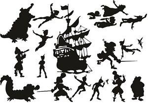 Die Cut Outs Silhouette Peter Pan Hook Ship Fairy 20 x set