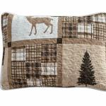 Western 1 Rustic Modern Farmhouse Cabin Lodge Quilted Bedspread Coverlet Bedding Set With Patchwork Of Wildlife Grizzly Bears Deer Buck And Plaid Check Patterns In Taupe Brown Twin Home Kitchen Bedding Sets
