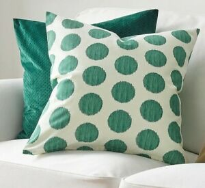 details about 2 x ikea cotton white dark green spotted cushion covers living room couch sofa