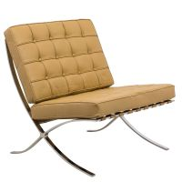 Barcelona Style Modern Leather Pavilion Chair in Light ...