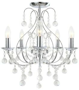Image Is Loading Luxury Chrome Amp Crystal 5 Light Ceiling Chandelier