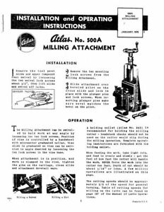1976 Atlas 500A Lathe Milling Attachment Instructions FREE
