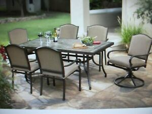 details about hampton bay fall river castle rock 7 pc patio dining set local pick up in nj