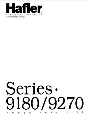 HAFLER Series 9180, 9270 Schematic Diagram Service Manual