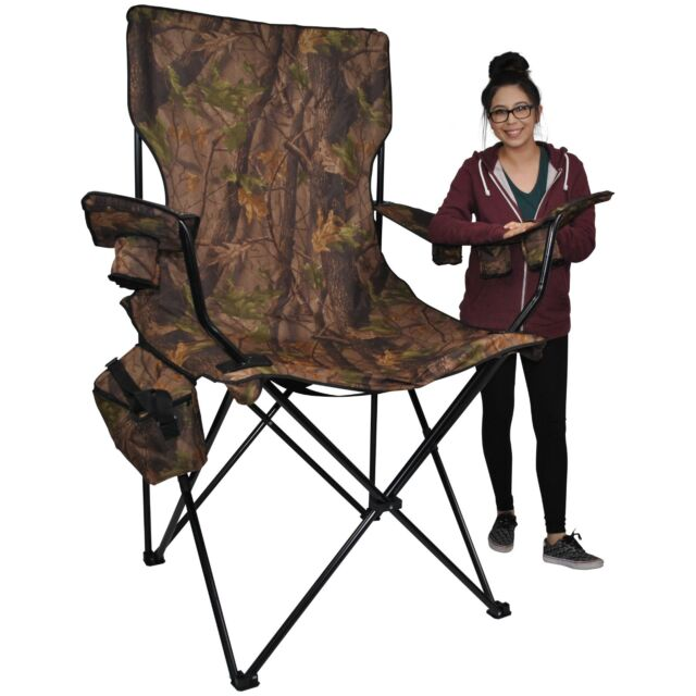 giant folding chair ribbed leather office kingpin camping prime time outdoors hunter camo