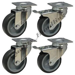 details sur roulettes pivotantes en caoutchouc 75mm avec roulette pour meuble avec frein tre