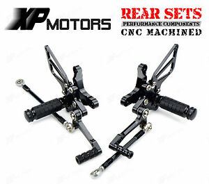 Black CNC Billet Rear Sets Foot Pedals Pegs Rearsets For