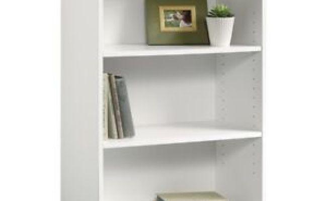 Short Wide Bookcase Three Shelf Tier Bookshelf White Small
