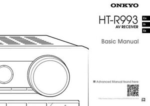 Onkyo Integra HT-R993 Basic Receiver Owners Instruction