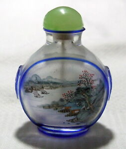 Vintage Chinese Reverse Painted Snuff Bottle - Carved Peking Glass