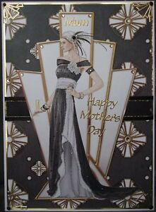 ART DECO CLASSIC HANDMADE MOTHERS DAY BIRTHDAY CARD LADY