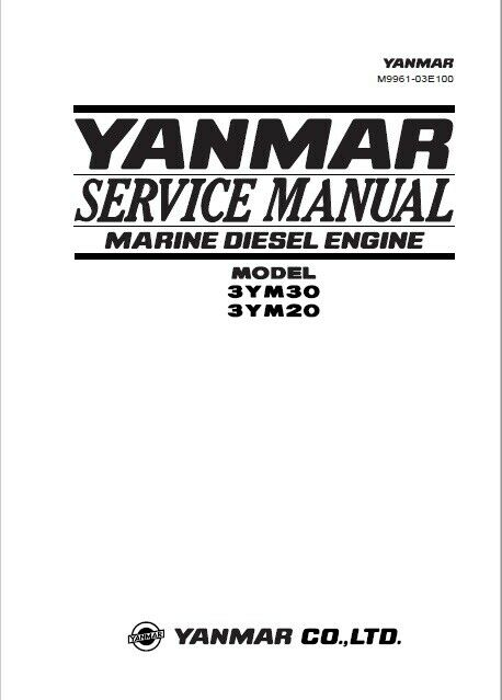YANMAR Service Manual Model 3YM30 3YM20 Marine Diesel