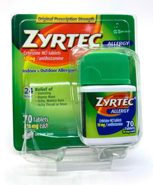 Zyrtec JJ-1761 Allergy 24 Hour 10mg Tablets - 70 Count for ...