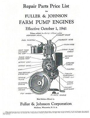 Fuller & Johnson Farm Pump Engines Book Motor Parts List