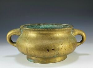 Massive Antique Chinese Bronze Handled Censer Bowl