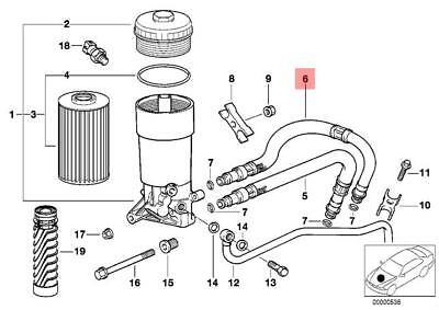 Genuine Engine Oil filter Pressure Hose Assy Outlet BMW