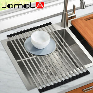 kitchen sink rack bakers racks for square rod roll up dish drying folding shelf image is loading