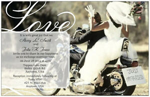 Details About 50 100 Motorcycle Harley Love Personalized 5x7 Wedding Invitations Custom