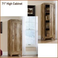 Kitchen Armoire Islands For Small Kitchens Tall Cabinets Storage Rustic Wood Oak Pantry Image Is Loading