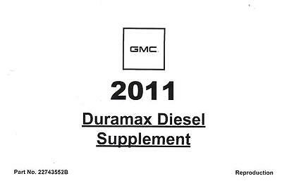 2011 Chevrolet Silverado GMC Sierra Owners Manual Diesel