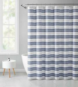 details about chambray blue and white fabric shower curtain striped with detailed decorative