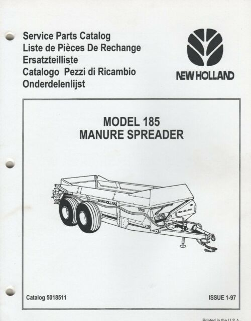 1997 NEW HOLLAND MODEL185 MANURE SPREADER PARTS MANUAL
